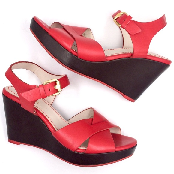 Boden Shoes - Red and brown open toe Boden platform wedge sandal